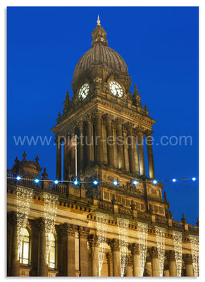 Luxury Yorkshire Christmas card featuring Leeds Town Hall at Christmas.