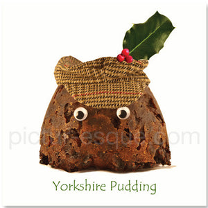 Yorkshire Pudding Christmas Pudding Christmas card by Charlotte Gale