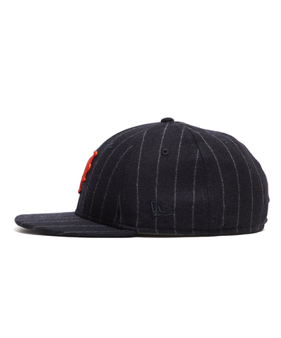 Exclusive New Era New York Mets Cap in Abraham Moon Navy Wool Chalkstripe