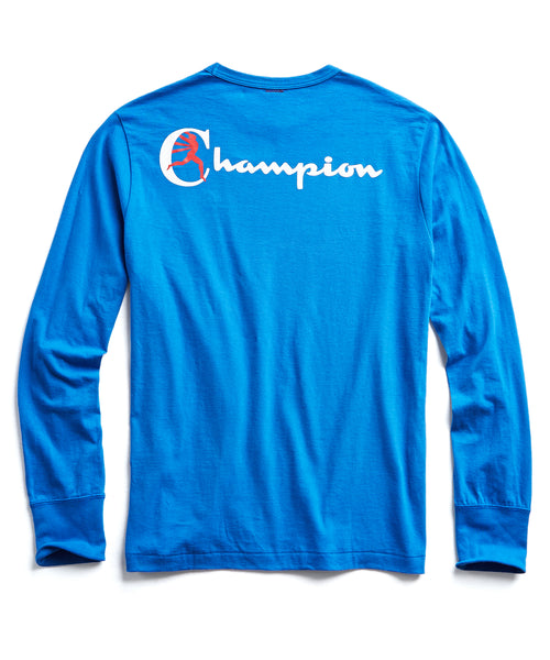 Champion Long Sleeve Back Graphic in Blue