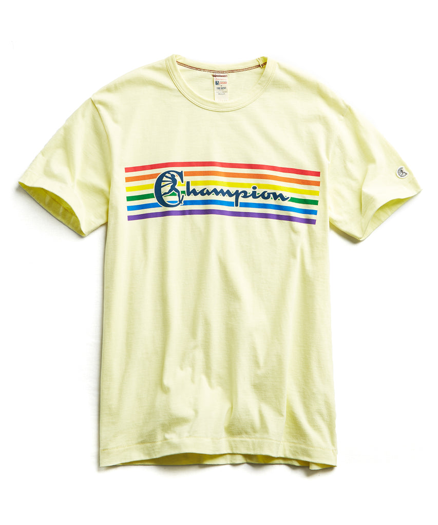 Champion Pride Graphic in Pale Yellow