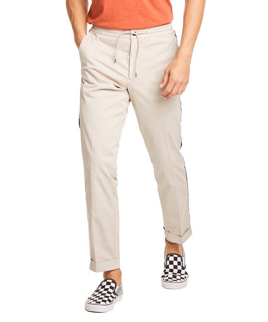Drawstring Side Stripe Trouser in Stone