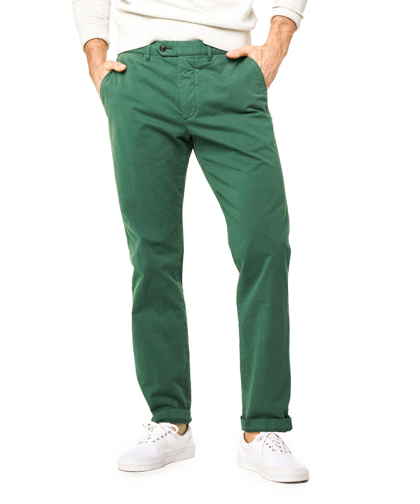 Extra Slim Fit Tab Front Stretch Chino in Green Lawn