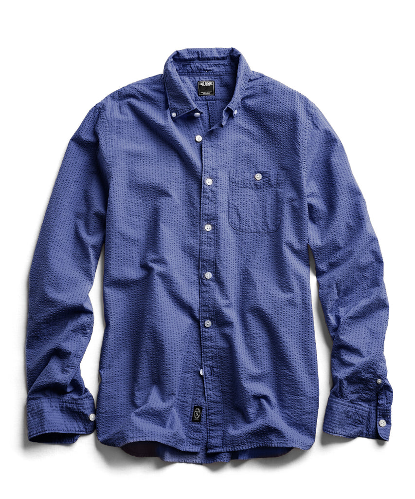 Garment Dyed Button Down Seersucker in Blue