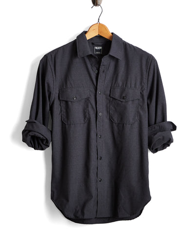 Italian Wool Stretch Workshirt in Charcoal