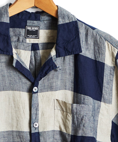 Linen Camp Collar Button Down in Buffalo Plaid in Navy