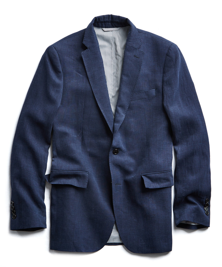 Linen Sutton Suit Jacket in Navy