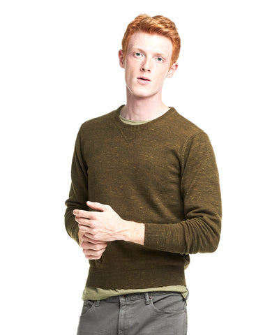 Slim Cotton Cashmere Spaced Dyed Sweater in Olive