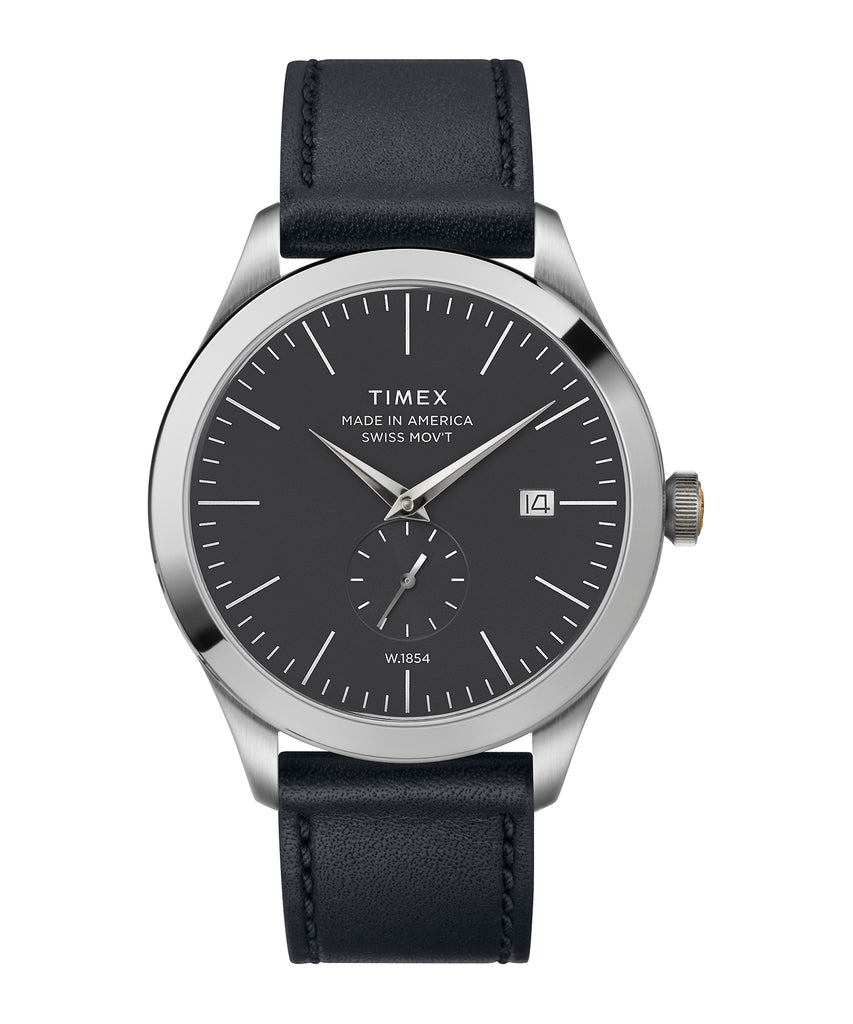 Timex American Documents™ 41mm Navy Leather Strap Watch