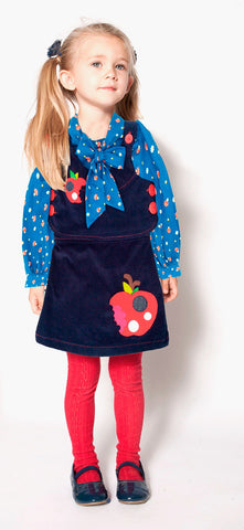 Spiffy 2pc Apple Pocket Applique Dress & Vest