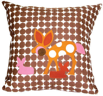 Doe a Deer Mod Dot Throw Pillow