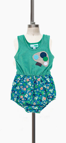Brady Bubble Romper - Green Stripe Mushroom