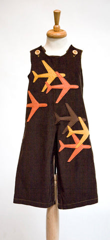 Brown Overalls with Autumn Planes Felt Applique