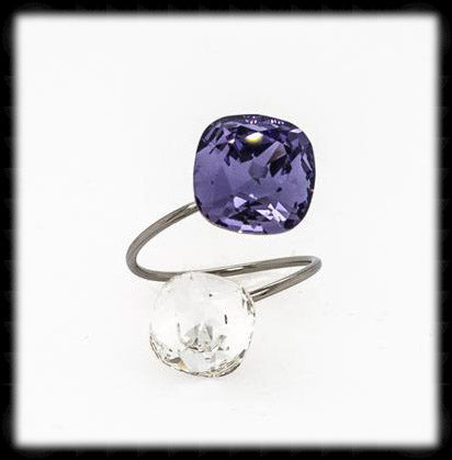 #R9914- Sparkling 2 Tone Ring- Tanzanite Sparkling Clear