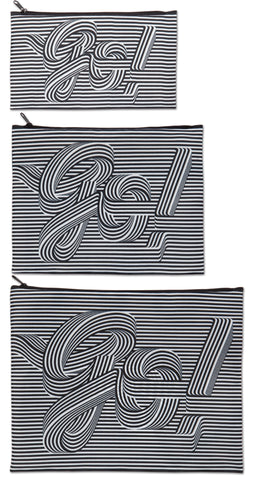 Go Go Go<br>Zip Pockets<br><br>TYPE Collection <br>© Sagmeister & Walsh