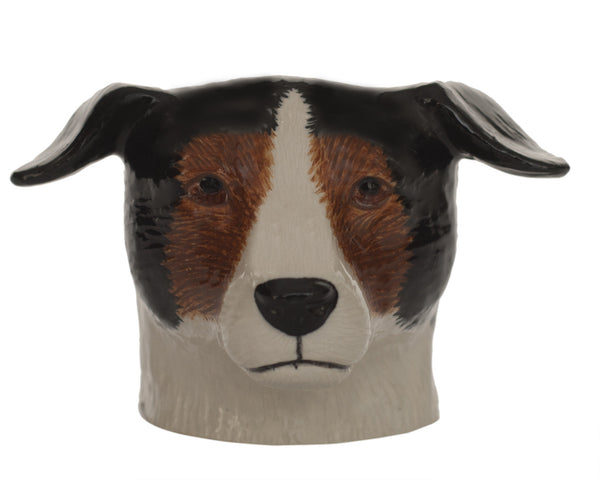 Jack Russell Face Egg Cup: Brown, Black White