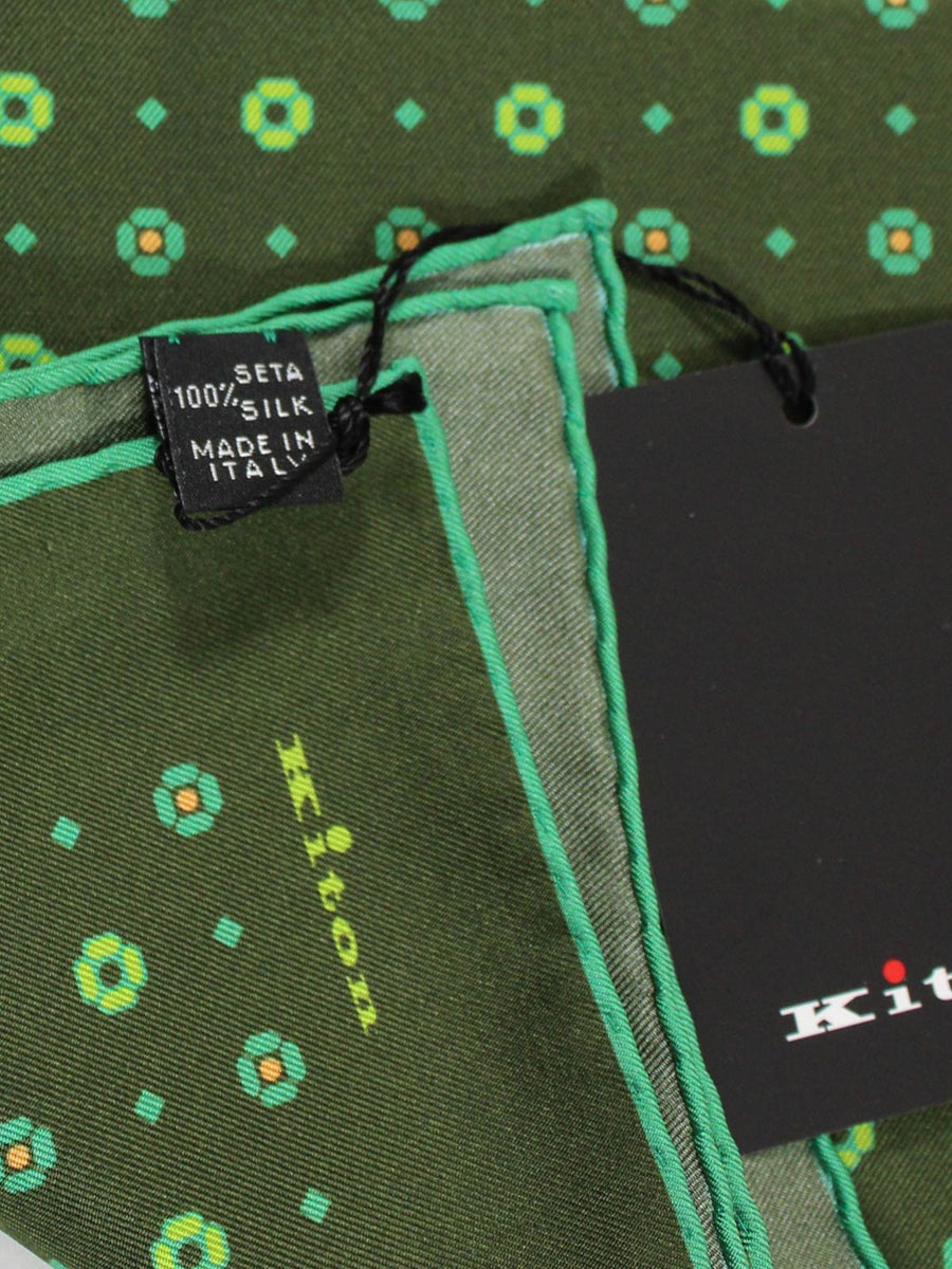 Kiton Silk Pocket Square Green Design