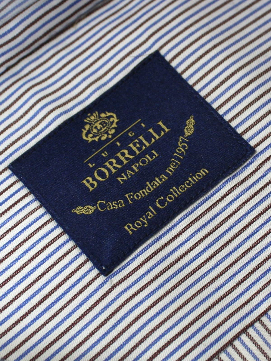 Luigi Borrelli Dress Shirt ROYAL COLLECTION White Brown Blue Stripes