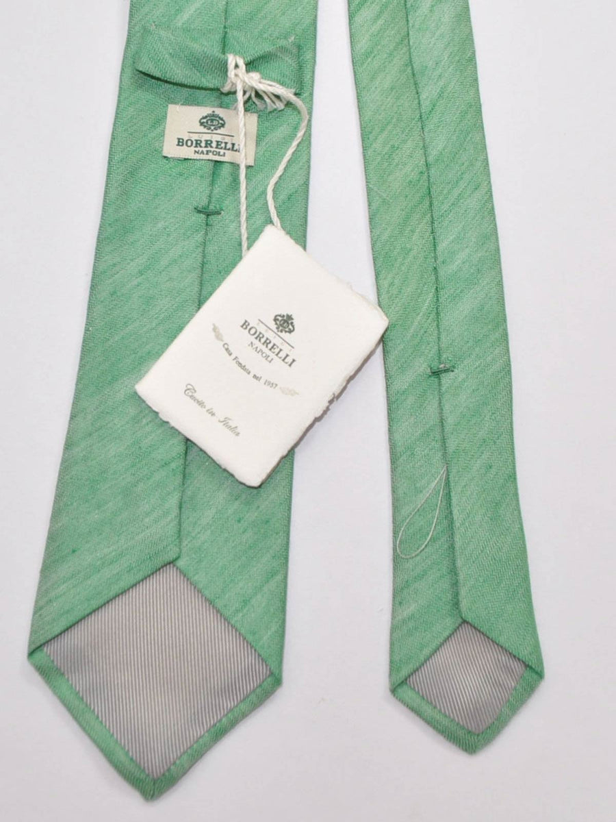 Luigi Borrelli Tie Green Gray Linen Silk FINAL SALE