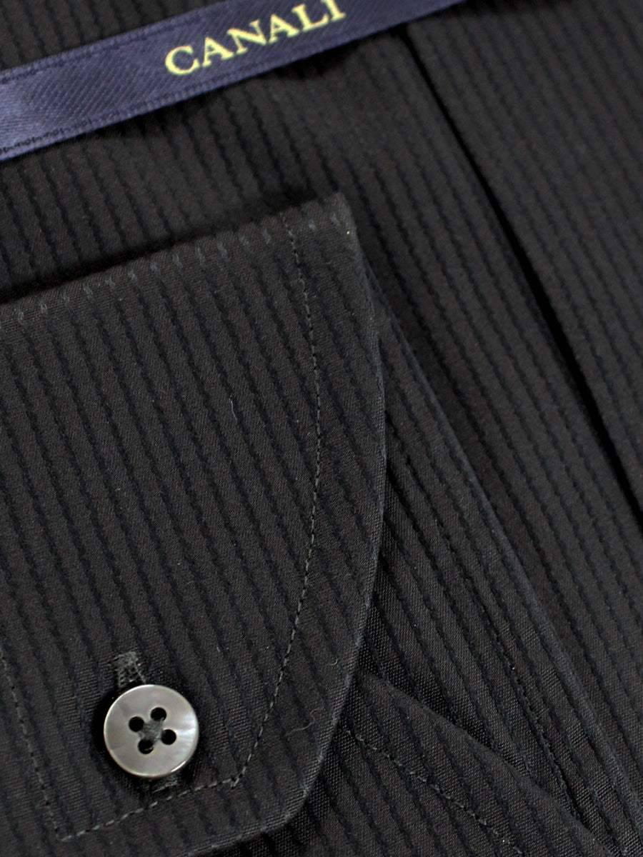 Canali Dress Shirt Black Gray Stripes