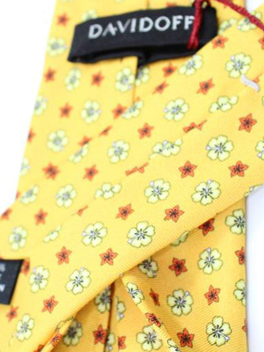 Davidoff Tie Yellow Floral - Hand Made In Italy