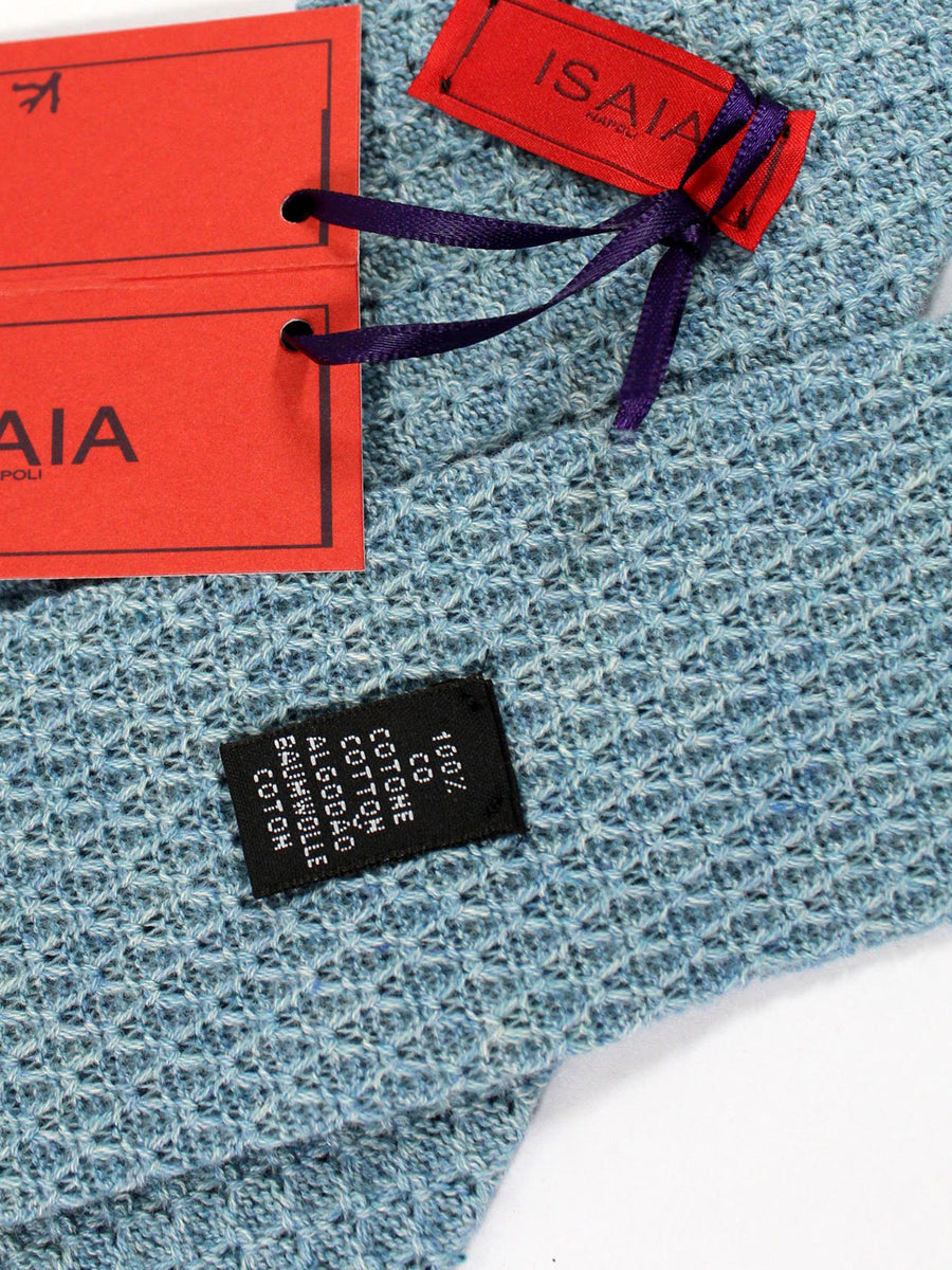 Isaia Tie Slate Blue Knitted Cotton Sevenfold Tie
