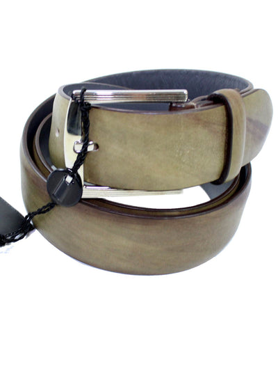 Kiton Belt Hand Painted Olive Brown Men Belt