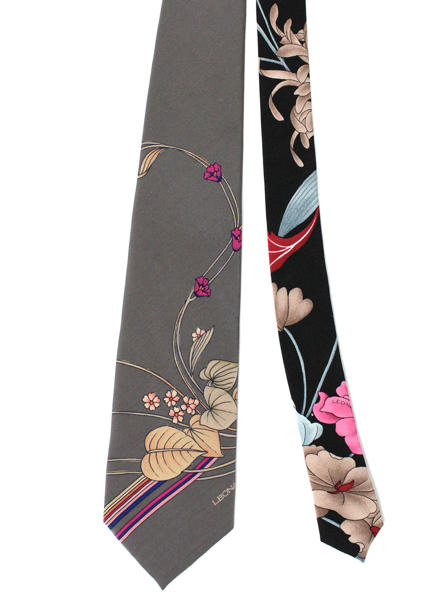 Leonard Tie Taupe Magenta Floral - Vintage Collection