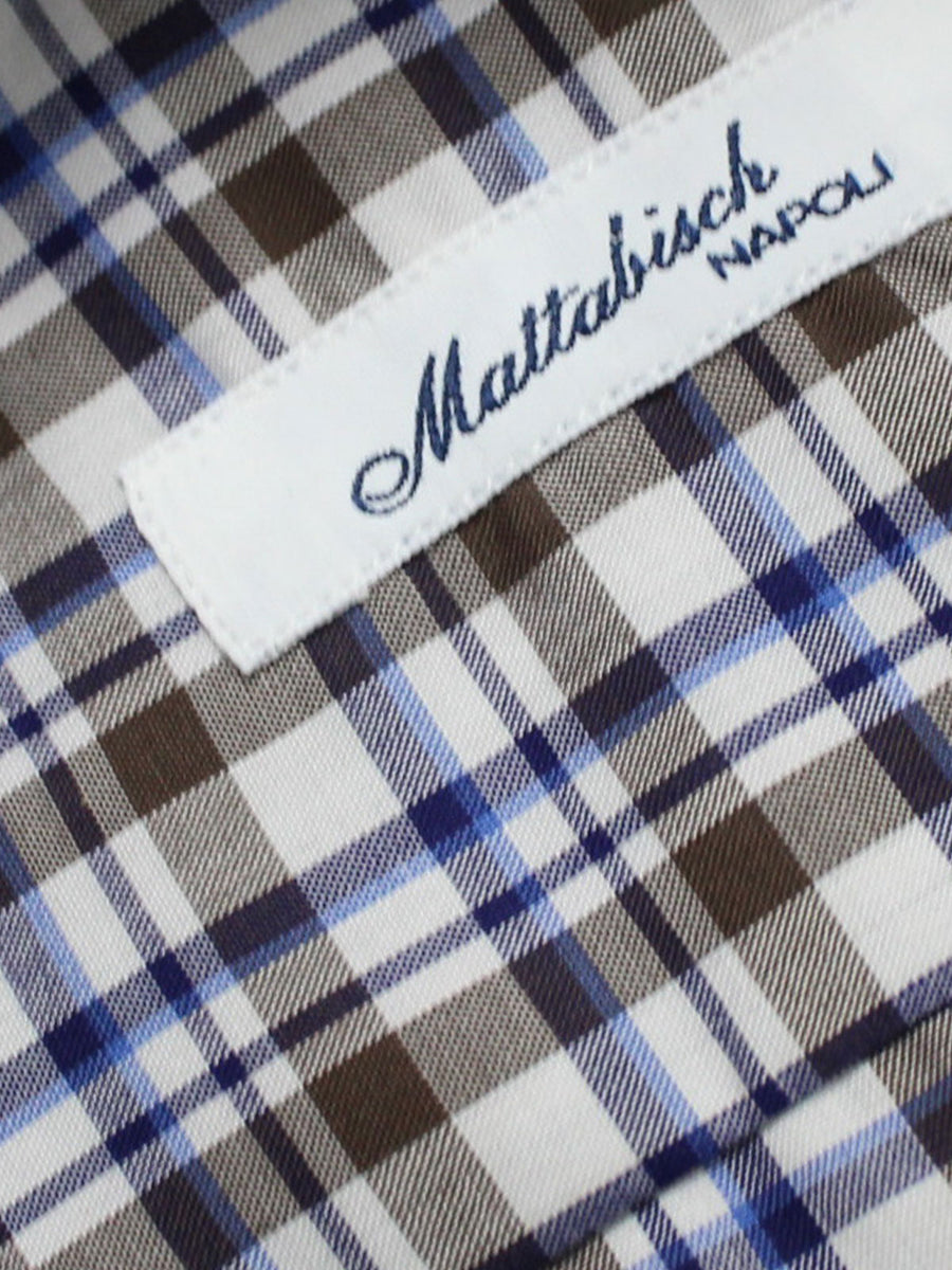 Mattabisch Shirt White Brown Blue Navy Plaid Check Design
