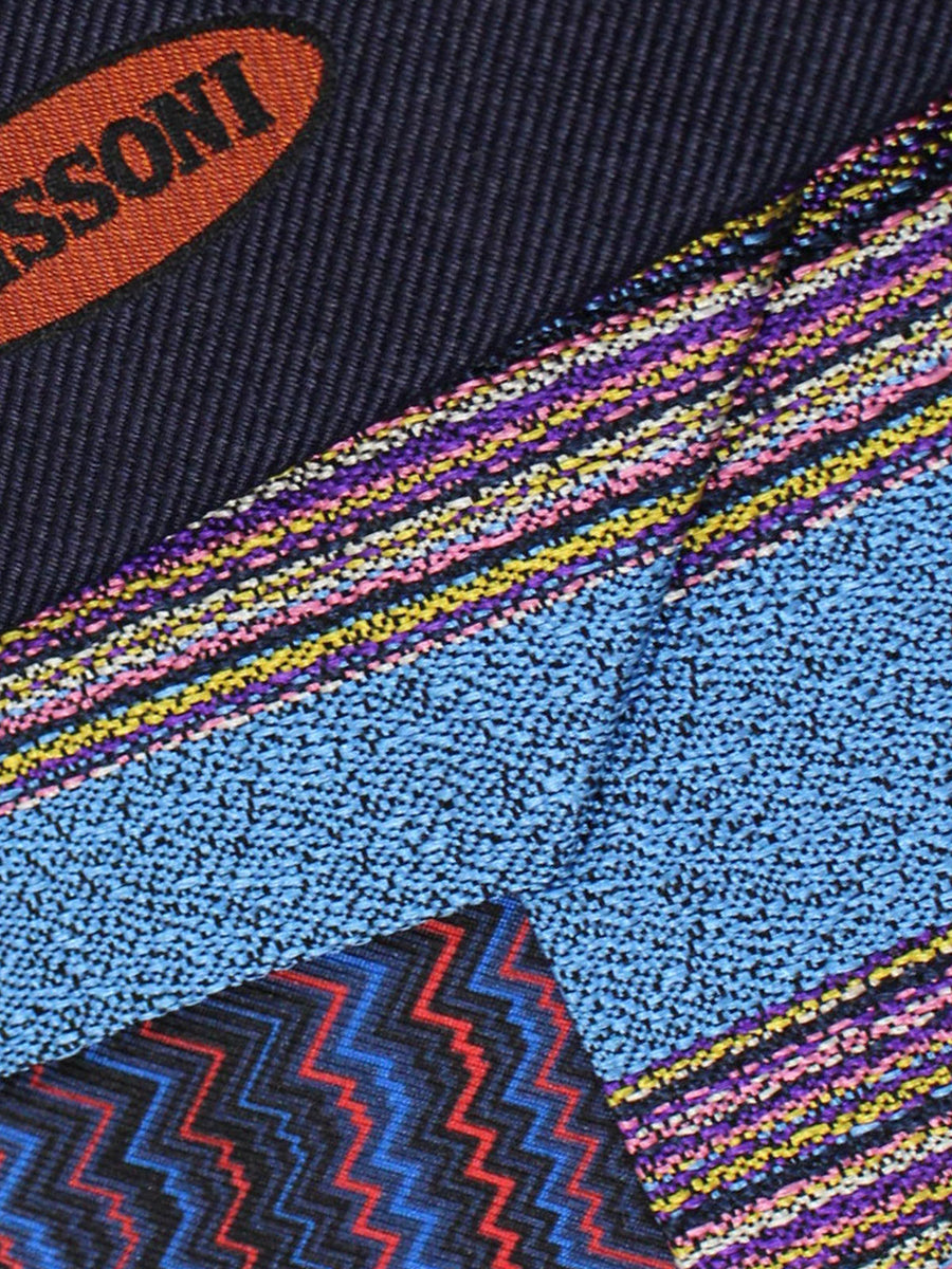 Missoni Tie Blue Pink Purple Yellow Stripes Design - Narrow Necktie