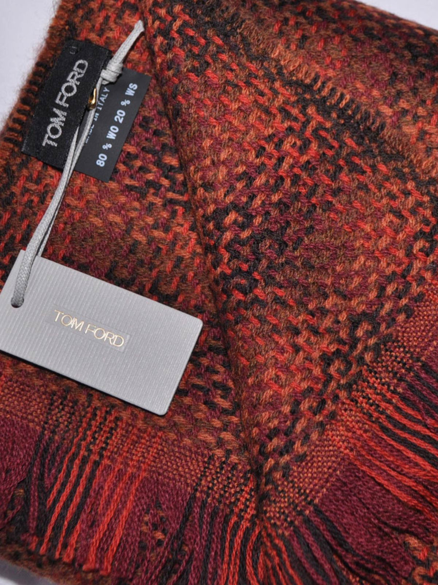 Tom Ford Cashmere Wool Scarf Maroon Brown Rust Orange - Extra Long Scarf FINAL SALE