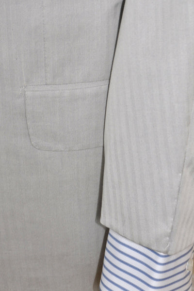 Kiton Suit Light Gray Stripes Cotton Silk EUR 48/ US 38 R REDUCED - SALE