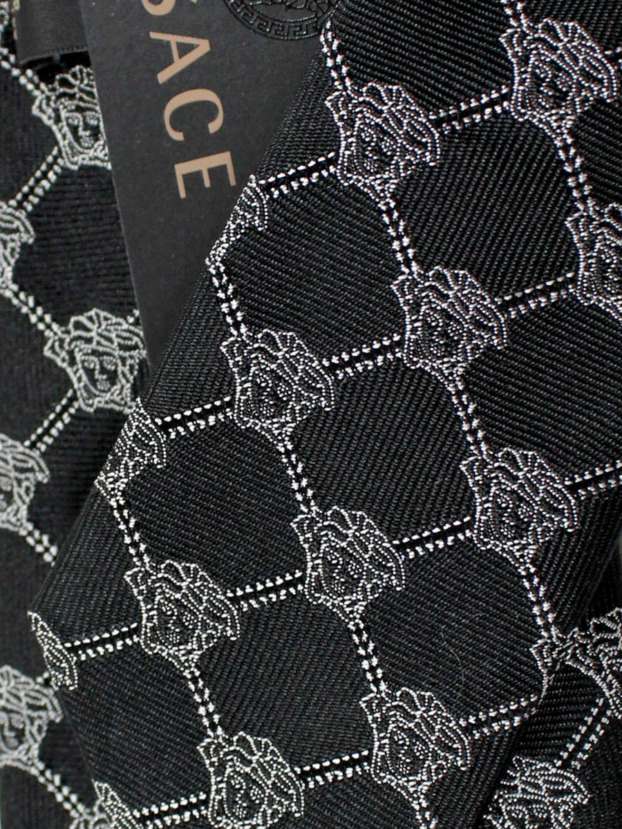 Versace Silk Tie Black Silver Medusa Design - Narrow Cut