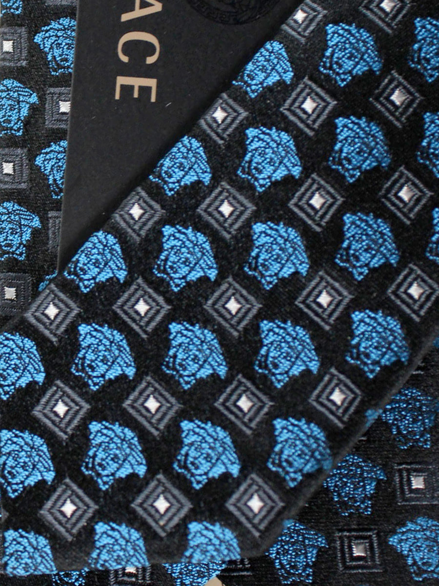 Versace Silk Tie Black Royal Blue Medusa Design - Narrow Cut