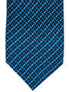 Versace Silk Tie Royal Aqua Geometric Design - Narrow Cut
