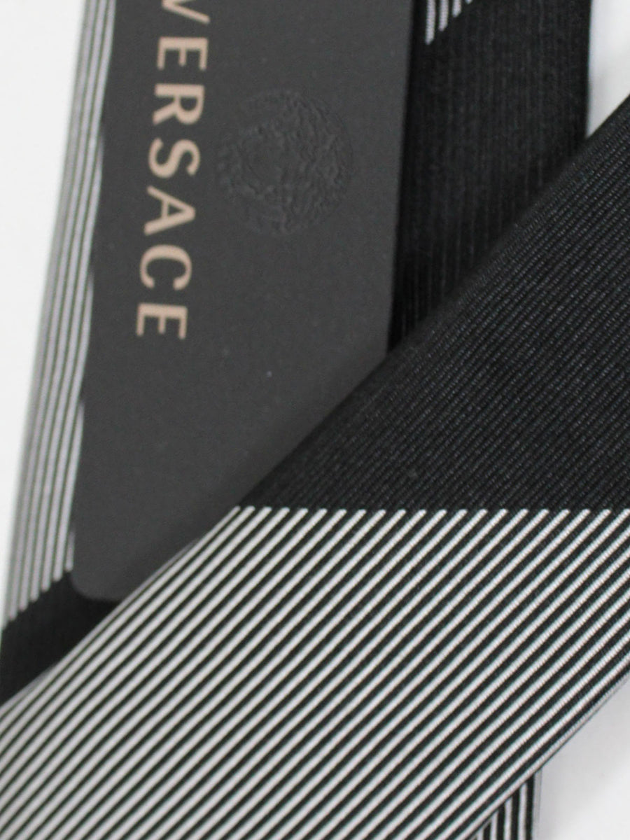 Versace Silk Tie Black Silver Stripes Design - Narrow Cut