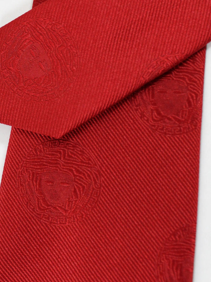 Versace Silk Tie Red Medusa Design - Narrow Cut
