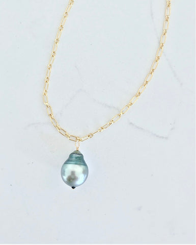 Tiki Christmas - Large Tahitian Pearl Necklace