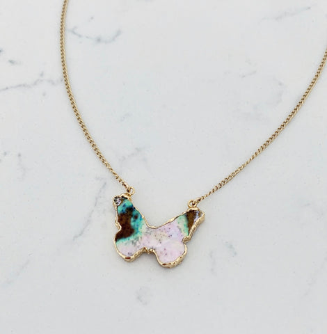 Petite Butterfly Necklace - Abalone shell