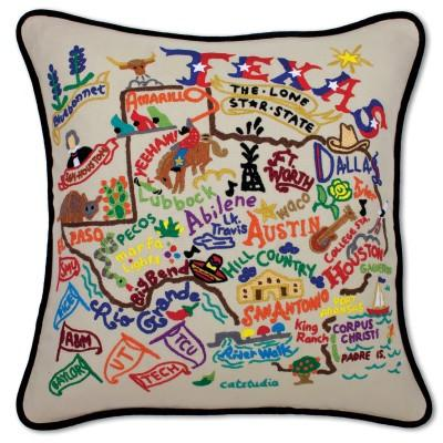Texas Hand Embroidered CatStudio Pillow
