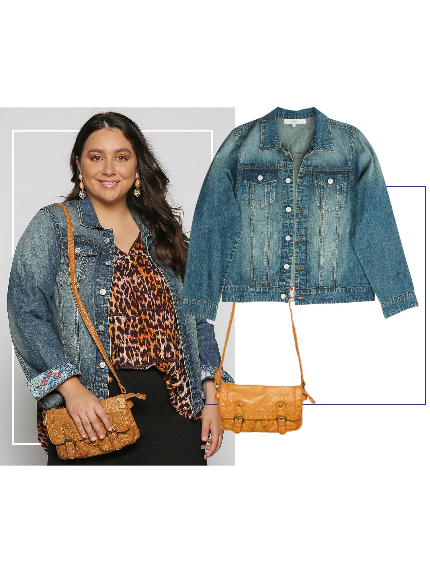 Curvy woman wearing denim jacket with leopard top and skirt.