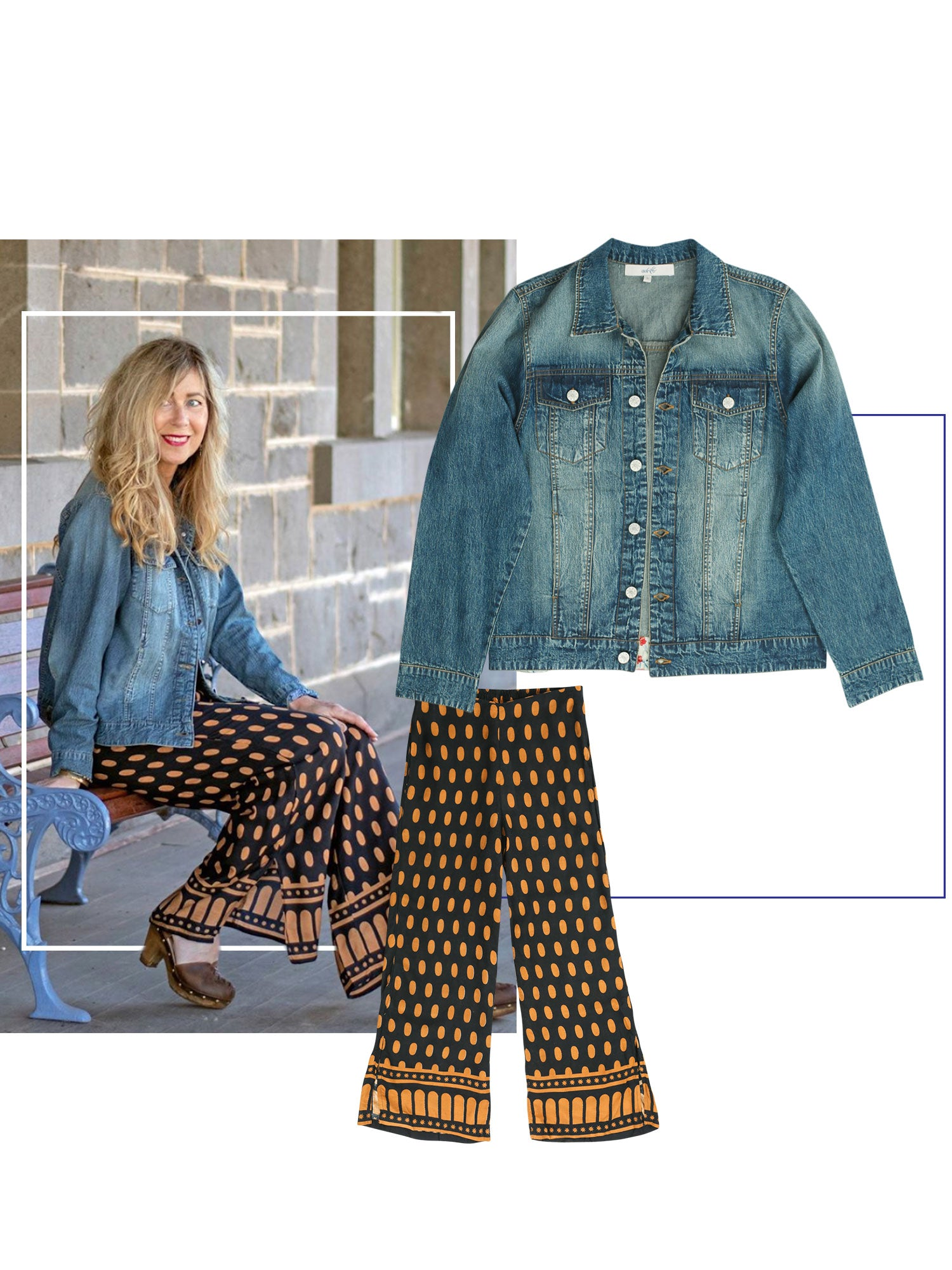 Suzie blogger wearing Adrift dot star pants with denim jacket combo.