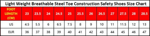 Light Weight Breathable Steel Toe Construction Safety Shoes Size Chart