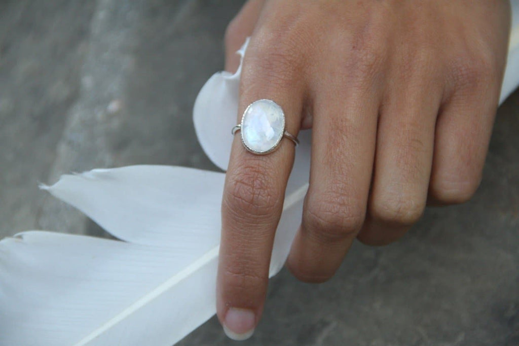 Moonstone Faceted Ring