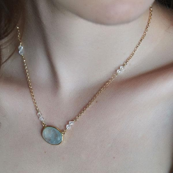 Faceted Gold Peridot Necklace