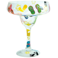 Margarita glass with flip flops. Glassware gifts for shoe lovers.