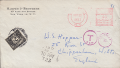 105634 - 1952 UNDERPAID MAIL NEW YORK TO CHIPPENHAM.