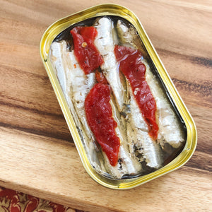 Small Sardines with Piquillo Pepper - Tinned Seafood - Donostia Foods
