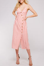 Emma Sun Dress - Coral Stripe
