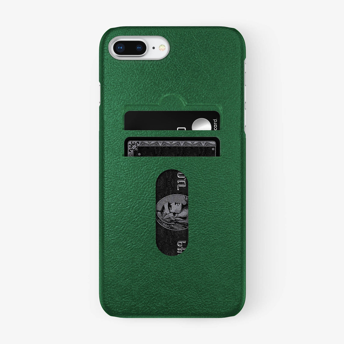 Calfskin Card Holder Case iPhone 7/8 Plus | Green - Stainless Steel
